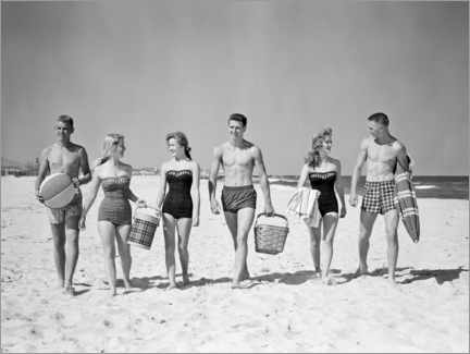 Premium poster On the beach in the 50s
