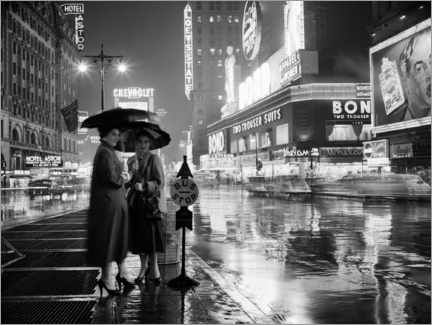 Acrylglas print  Two women under umbrellas in New York