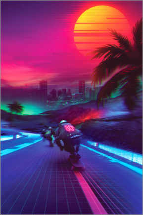 Canvas print  Synthwave Midnight Outrun - Denny Busyet