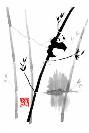 Canvas print  Panda on the bamboo tree - Péchane