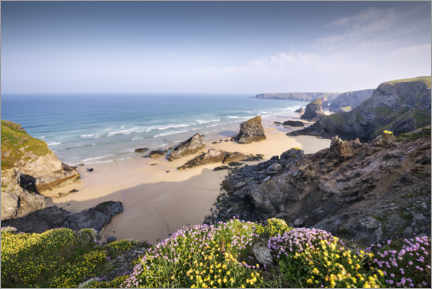 Hout print  Beach with flowers and rocks in England - The Wandering Soul