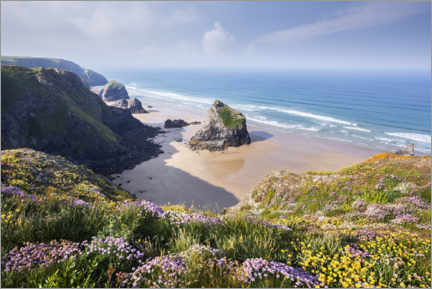 Aluminium print  Wide beach with flowers in spring in England - The Wandering Soul
