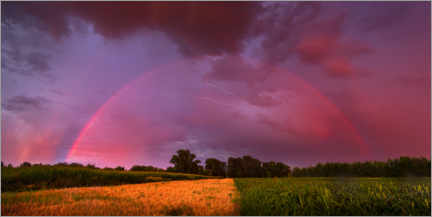 Hout print  Rainbow at sunset with lightning - Benjamin Butschell