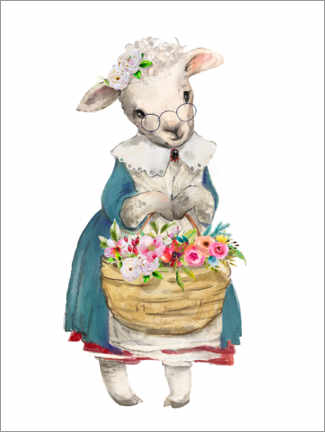 Canvas print  Sheep with garden flowers - Kidz Collection