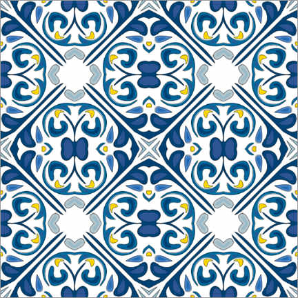 Muursticker  Floral azulejo decor
