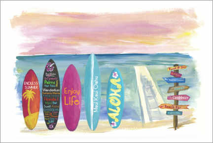 Acrylglas print  Surfboards by the sea - M. Bleichner