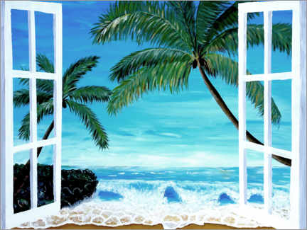 Acrylglas print  Window with a view of the Caribbean beach - M. Bleichner