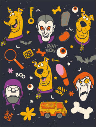 Hout print  Scooby Doo - monster faces