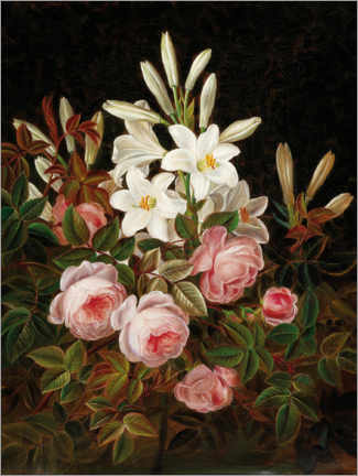 Canvas print  Roses and lilies - Johan Laurentz Jensen