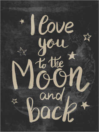 Muursticker  I love you to the moon and back - Olga Telnova