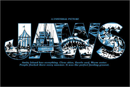 Premium poster  Jaws - Perfect feeding ground, zwart
