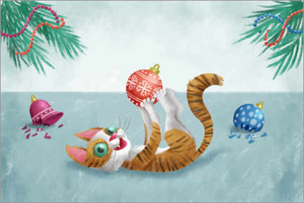 Premium poster  The kitten and the Christmas tree - Leonora Camusso