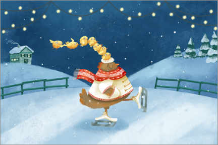 Gallery print  Hen and chicks ice skating - Leonora Camusso