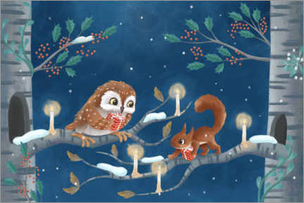 Hout print  Owl and squirrel exchanging gifts - Leonora Camusso
