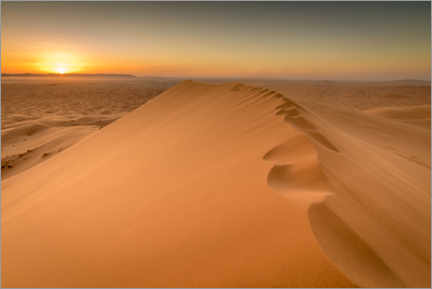 Hout print  Sunset over sand dunes, Morocco - Julian Peters