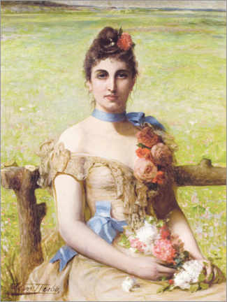 PVC print  Portrait of a lady holding a posey - Leon Herbo