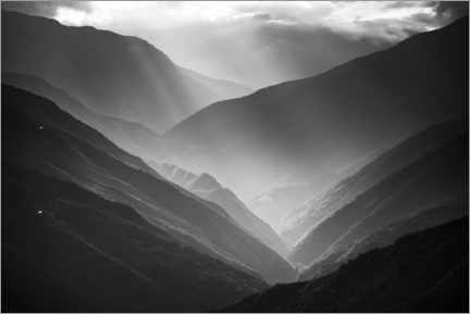 Hout print  First rays of sun in the valley - Matthew Williams-Ellis