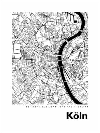 Acrylglas print  City map of Cologne - 44spaces