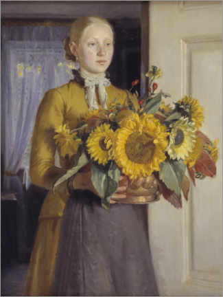 Acrylglas print  The girl with the sunflowers - Michael Peter Ancher