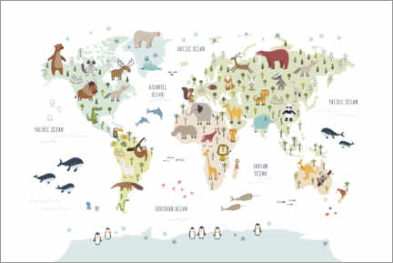 Canvas print  World map with animals (white) - Marta Munte