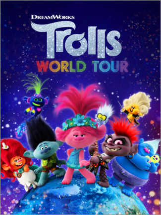Aluminium print  Trolls World Tour - Around the globe