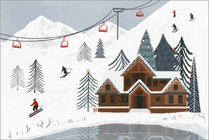 Hout print  Down on the ski slope - Victoria Borges