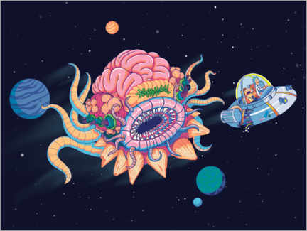 Gallery print  Escape in the spaceship