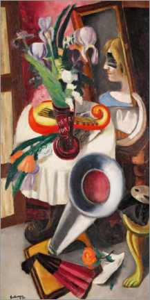 Gallery print  Still life with gramophone and irises - Max Beckmann