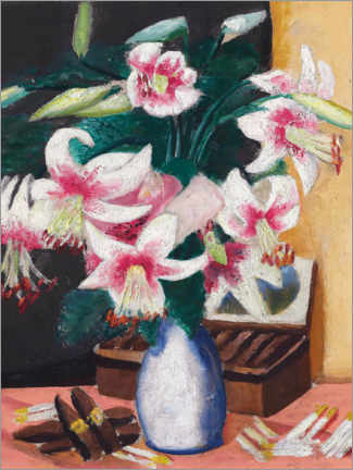 Hout print  Still life with the Turk's Association (flowers with a cigar box) - Max Beckmann