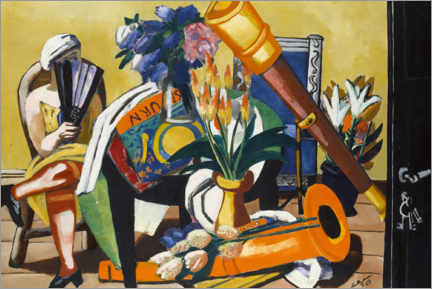 Hout print  Large still life with telescope - Max Beckmann