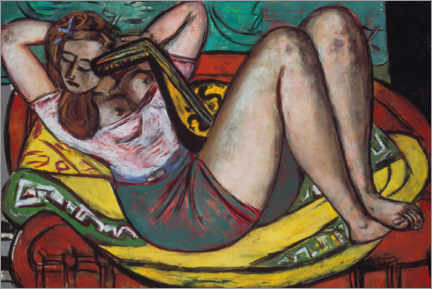 Premium poster  Woman with a mandolin in yellow and red - Max Beckmann