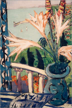 Aluminium print  View of Menton with a lily pot - Max Beckmann