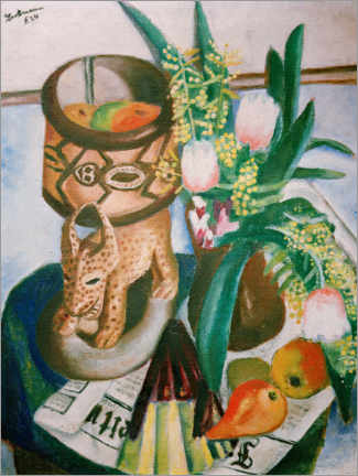 Premium poster  Still life with African plastic - Max Beckmann