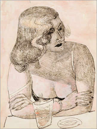 Acrylglas print  Young woman with glass - Max Beckmann