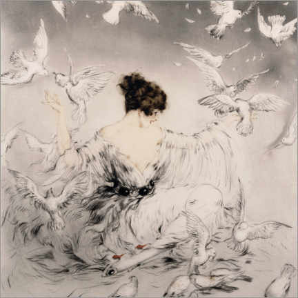 Aluminium print  Girl with pigeons - Louis Icart