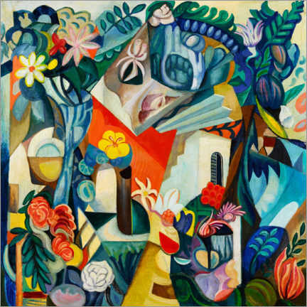 Acrylglas print  Composition with house and flowers - Hélène Oettingen