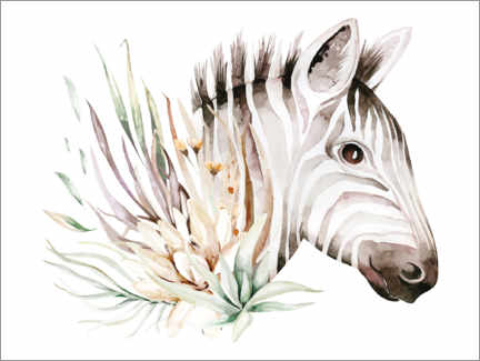 Canvas print  Zebra in the sea of flowers - Kidz Collection