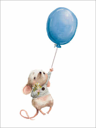 Aluminium print  Little mouse with balloon - Kidz Collection