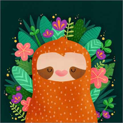 Premium poster Sloth with flowers