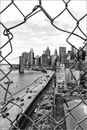 Hout print  Black Manhattan - Hole in the Fence - Philippe HUGONNARD