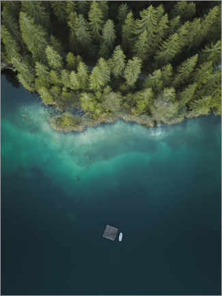 Acrylglas print  Forest by the lake from above - Lukas Saalfrank