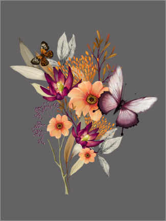 Premium poster Floral with butterflies II