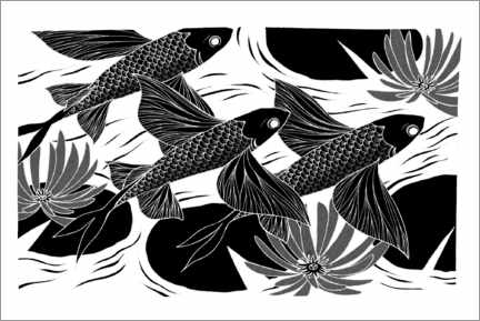 Canvas print  Flash - Black and white flying fish - Chromakane