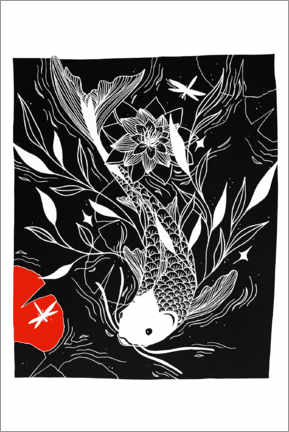 Canvas print  Mystical Lake - Japanese koi carp fish - Chromakane