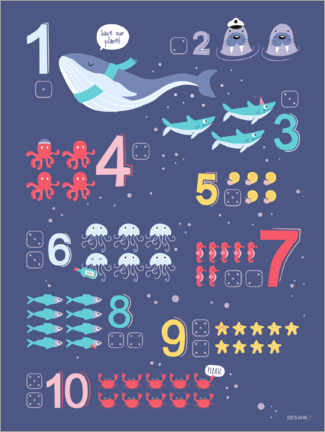 Aluminium print  Counting numbers with marine animals - Heyduda