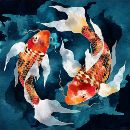 Canvas print  Metallic Koi II - SpaceFrog Designs
