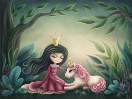 Aluminium print  Princess with unicorn in the magic forest - Elena Schweitzer
