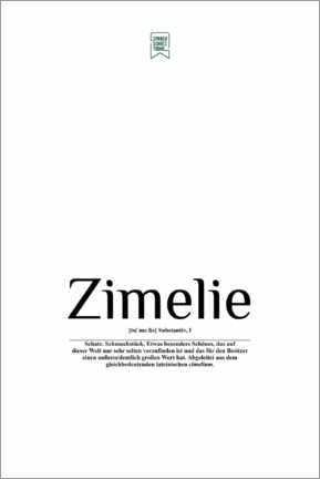 Premium poster  Beautiful words - Zimelie (German) - Sprachschatztruhe