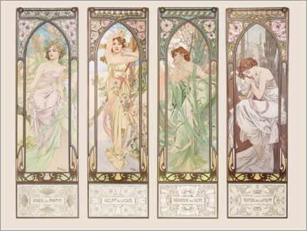 Acrylglas print  The Times of the Day - Alfons Mucha