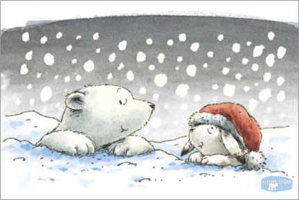 Hout print  The little polar bear Lars and the mountain hare